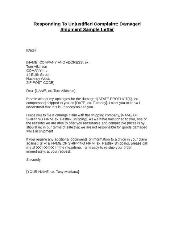 Sample Complaint Letter Damaged Goods Cover Templates  Home