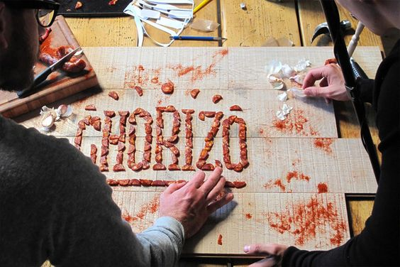 How about a literal way of lettering? Chorizo by Side by Side #awesome #typography #ideas #jablonskimarketing #branding #design #inspiration