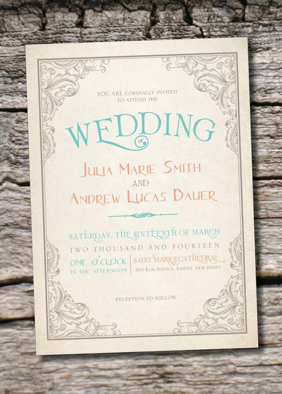 ELEGANT SCROLL Vintage Rustic Wedding Invitation and Response Card – Rustic Elegance Wedding Invitations