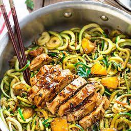 One Pot Teriyaki Chicken Zoodles Recipe Yummly Recipe Zoodle Recipes Paleo Recipes Lunch Recipes