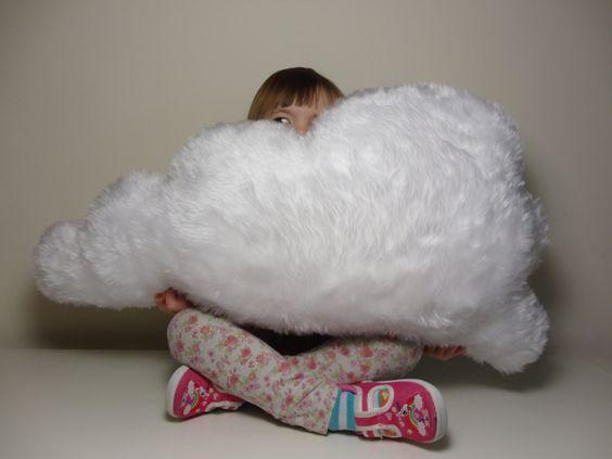 LARGE FLUFFY CLOUD Cushion / Pillow Rain Cloud White Faux