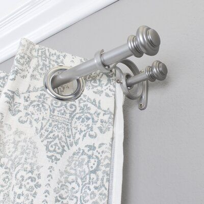 Greyleigh Bloxom Curtain Rod Set Size 72 144 W Finish New Antique Silver Double Curtains Double Rod Curtains Curtain Rod Hardware