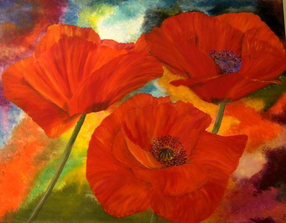 Original Ölmalerei roter Mohn auf Leinwand von Blumenmalerei und mehr auf DaWanda.com