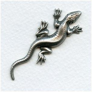 Gecko Stampings Oxidized Silver 58x22mm (2)
