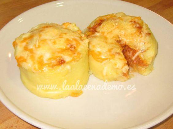 Receta de volcán de patatas a la boloñesa con thermomix. Fáciles y estupendas para una cena con invitados