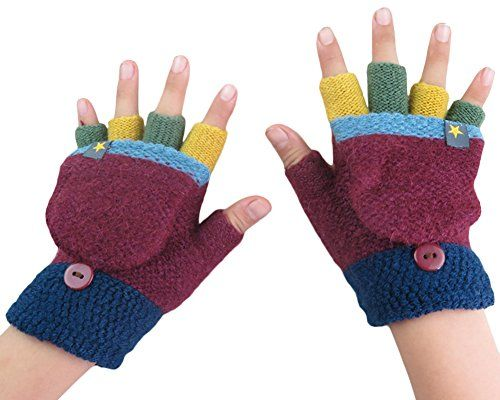 BaiX Unisex Kids Knitted Fingerless Convertible Gloves with Mitten Cover