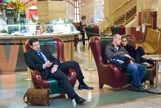 Thermoformed Corian chairs in Grand Central Terminal, NYC.