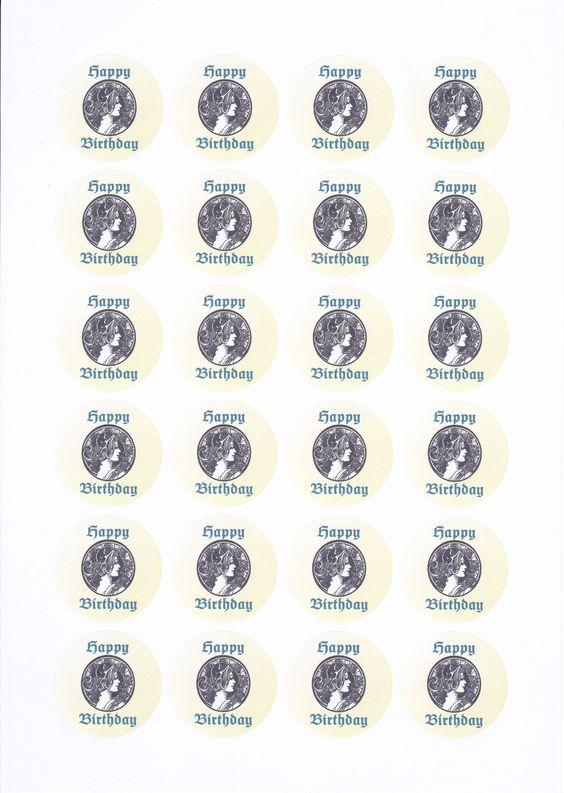 Vorlage für Sticker zum Geburtstag. Durchmesser 4cm, Abstände 3mm oben und seitlich. Abstände oben und links einfach an Etikettenbogen anpassen. Super auf Geschenken oder Briefumschlägen