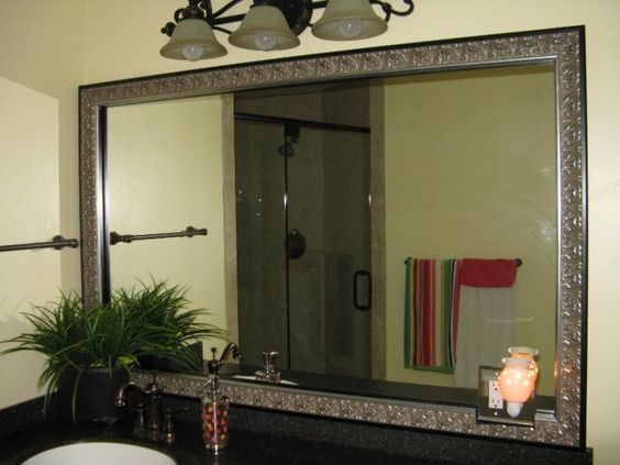 Bathroom mirror frames bathroom and sticks on pinterest - Mirror frame kits for bathroom mirrors ...