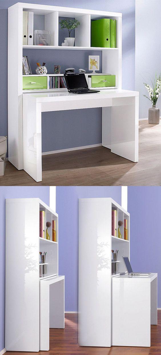 Eckschreibtisch ikea  Praktisches Regal mit ausziehbarem Schreibtisch. ♥ | Möbel für ...