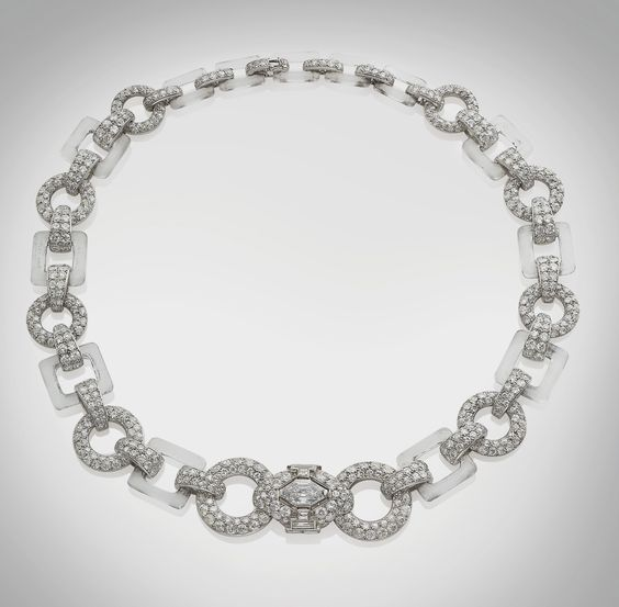 ART DECO DIAMOND ROCK CRYSTAL NECKLACE, BY CARTIER PARIS