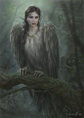 Alkonost, a legendary creature from Slavian mythology, with a bird body, female head and breast.: