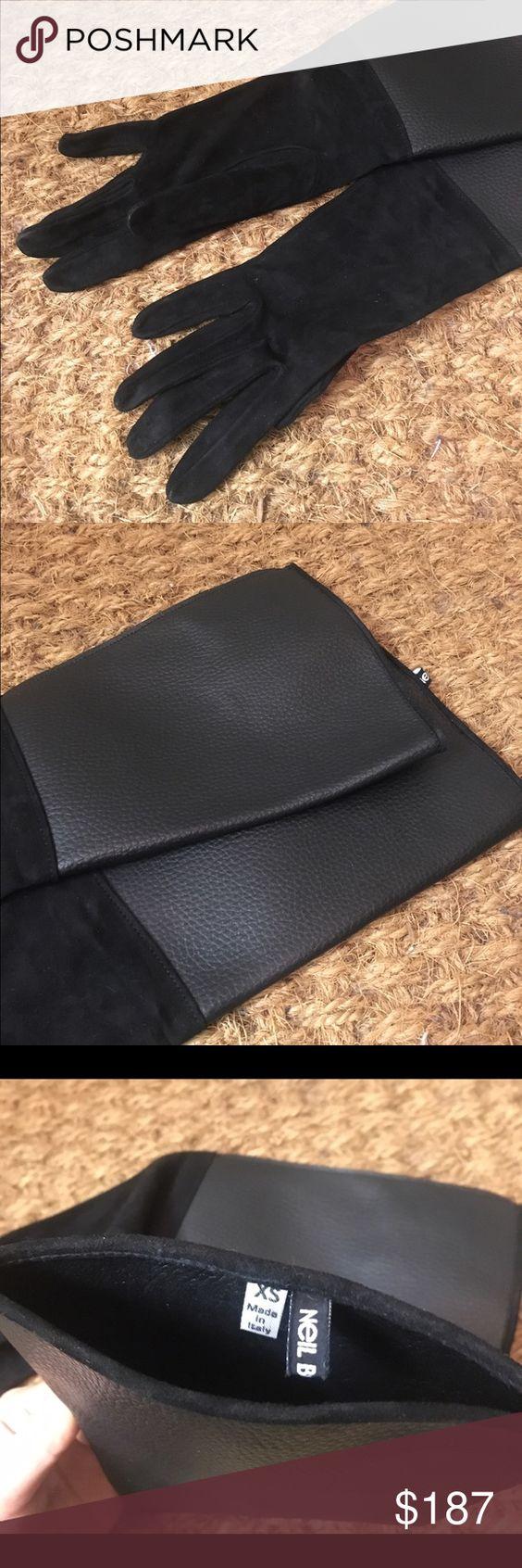 Xs black leather gloves - Neil Barrett Black Leather Gloves Brand New Neil Barrett Gloves With Two Types Of Leather