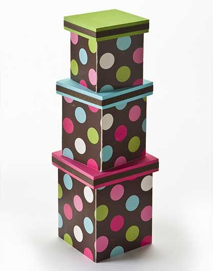 Wrapping Paper nesting boxes perfect for gift wrap - crafted with surfaces in @Walmart - click thru for the full #howto on these projects designed by  @Steve Benson Benson Piacenza @Cathie Walker Walker Filian #modpodge #diy #plaidcrafts