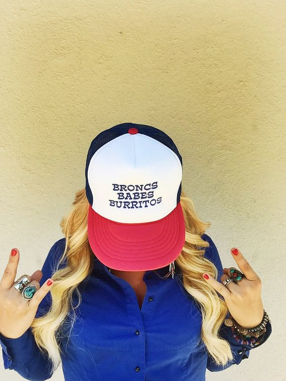 Broncs Babes and Burritos Trucker Hat by BuckaroogirlGoods on Etsy