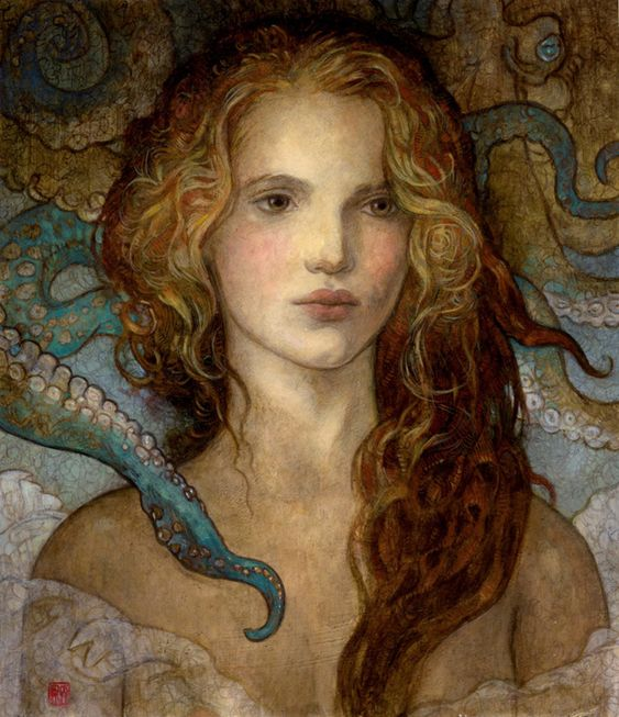 """The Visitor"" original oil by Rebecca Guay available at the R. Michelson Galleries. SOLD"