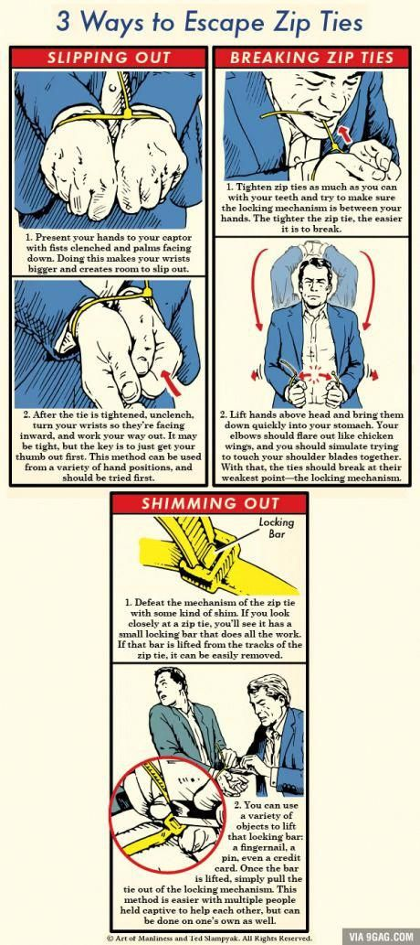 3 Ways to Escape Zip Ties: An Illustrated Guide #diysurvivaltips