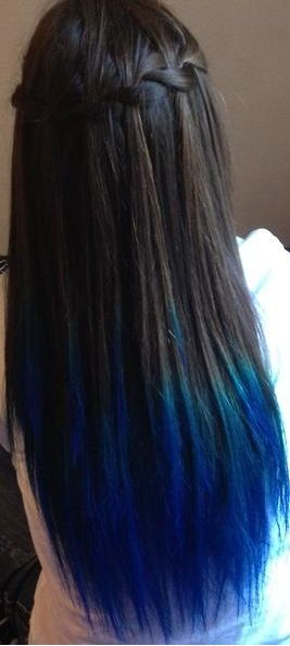 Someone's blue dipped hair: