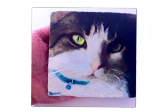Tier Portrait - Malerei auf rustikalen Marmor von Mishonets Malerei Studio auf DaWanda.com