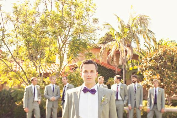 purple bowtie, gray suits, wedding