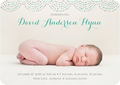 Turquoise borders and script announce your little one with style – Baby Boy Birth Announcement Sayings