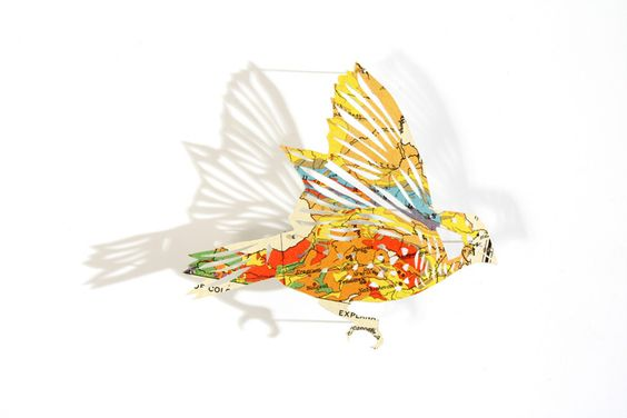 beautiful papercut birds from maps, by artist claire brewster