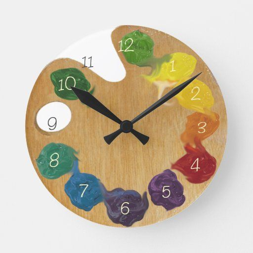 Artist S Palette Color Wheel With Numbers Round Clock In 2020 Clock Painting Color Wheel Art Color Wheel Design
