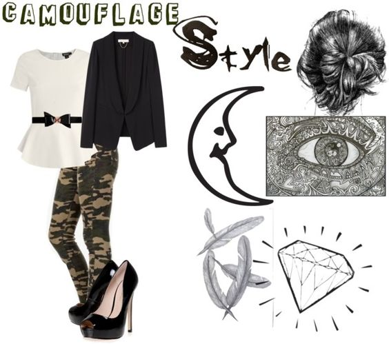 """""""How to wear camo at work"""" by summerluv54eva2 ❤ liked on Polyvore"""
