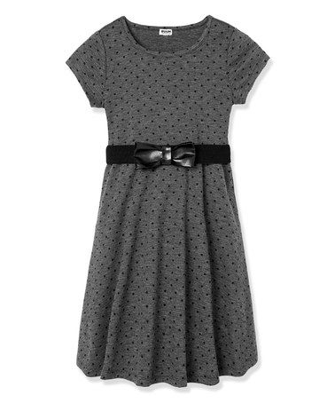 Another great find on #zulily! Charcoal Heather Gray Belted Polka Dot Dress - Girls #zulilyfinds
