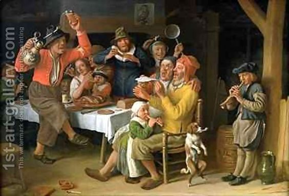 Lambert Doomer:An interior with peasants singing and dancing: