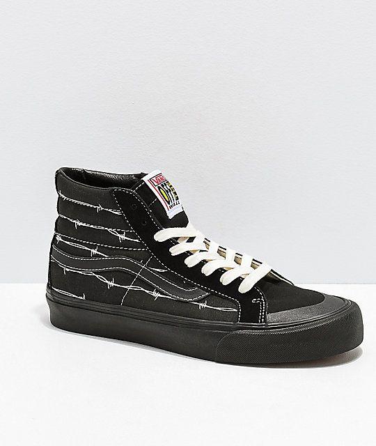 Vans Sk8 Hi 138 Sf Barbed Wire Black Skate Shoes Vans Skate Shoes