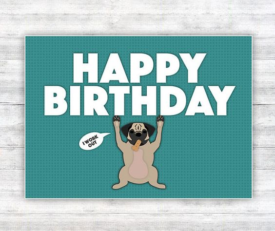 Funny Pug Birthday Card #birthdaycard #pug #printablecard