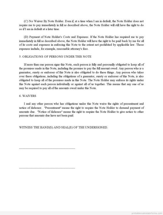Printable Sample Promissory Note Credit Scedule  Form  Sample