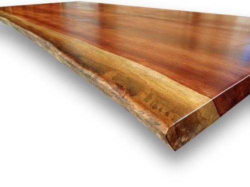 Schreibtischplatte massivholz  Bubinga-Rosenholz-Massivholz-Tischplatte-Baumkanten-Ess ...
