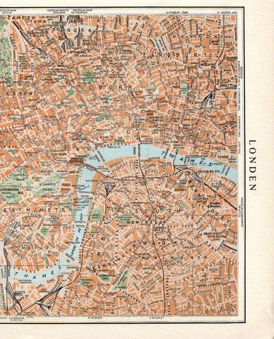LARGE vintage LONDON map 1950s London street map london travel – Large London Map