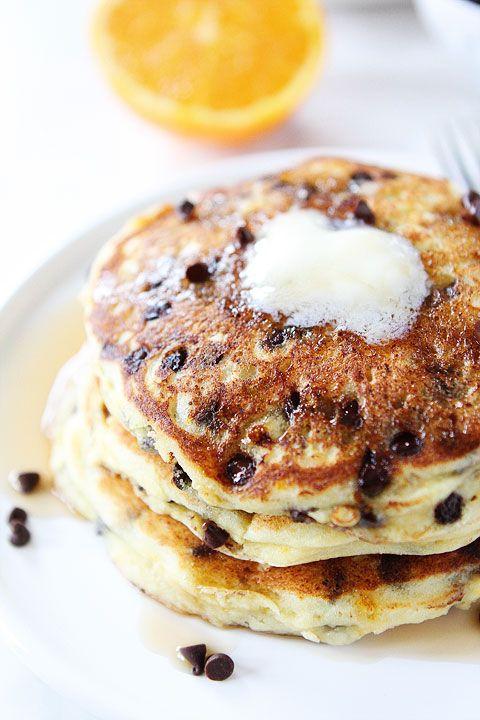 Orange Ricotta Chocolate Chip Pancake Recipe on twopeasandtheirpod.com ...