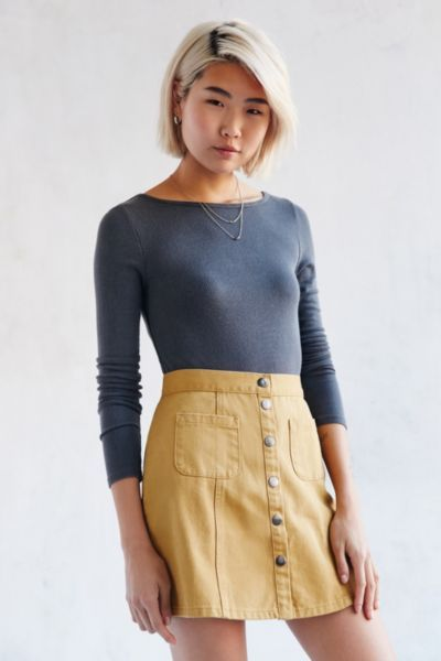 BDG Twill Button-Front A-Line Skirt | Urban outfitters, Skirts and ...