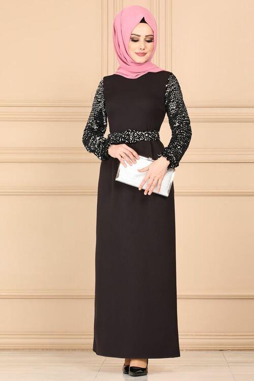 Modaselvim Elbise Kollari Payetli Tesettur Elbise 5660mp186 Siyah The Dress Elbise Elbise Modelleri