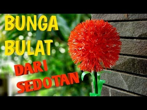 Cara Mudah Dan Sederhana Membuat Bunga Bulat Dari Sedotan