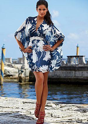 Printed Kimono Sleeve Tunic.: