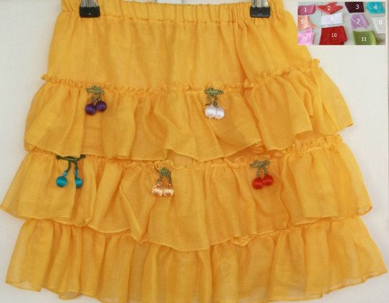 Yellow Twirl Skirt for Girls  Available in other by fatwoman, $25.00