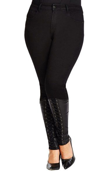 Plus Size Women&39s City Chic &39Lace Up&39 Stretch Skinny Jeans (Black