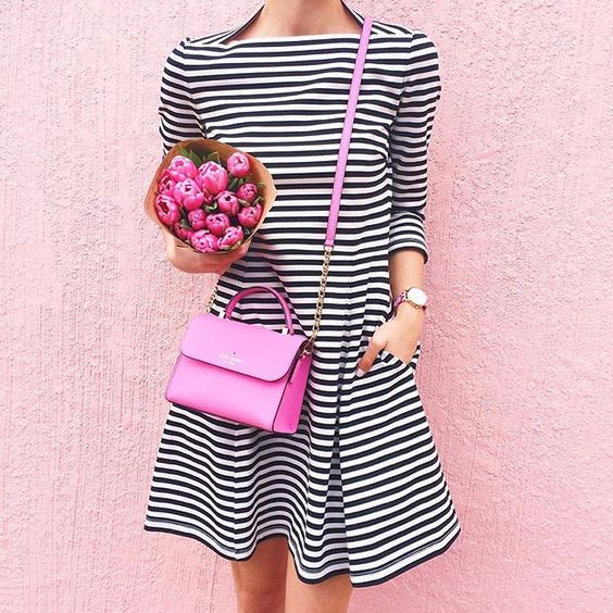 Cutest striped dress for spring with  a cute pink handbag! LivvyLand x Kate Spade: