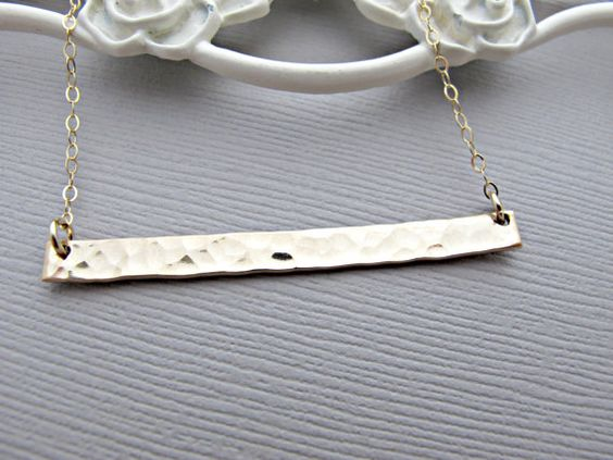 Simple Gold Bar Necklace Long Gold Necklace by vonmeyerjewelry