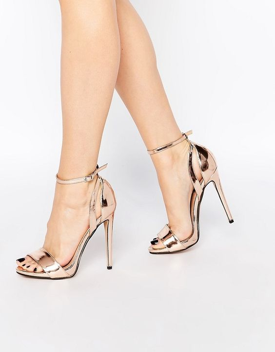 Lost Ink Raula Rose Gold Two Part Heeled Sandals: