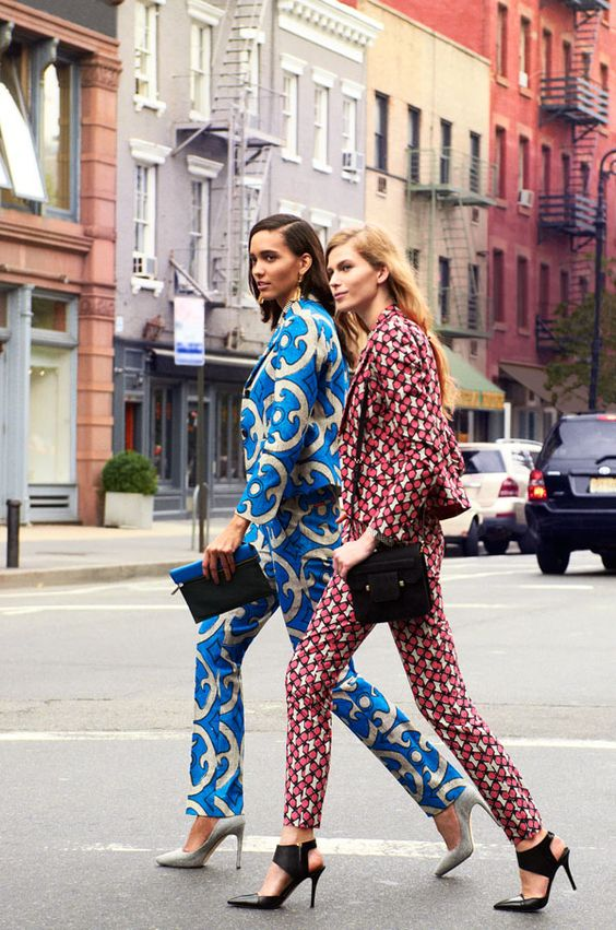 Blazer and pants (left), Lemlem. Top, Miu Miu. Earrings, Kara by Kara Ross. Clutch, Victoria Beckham. Shoes, Rachel Roy. Blazer, pants, and shoes (right), Hugo. Blouse, Joe Fresh. Bag, DKNY. Tommy Ton Fashion Shoot - Tommy Ton Street Style Fashion Editorial - Harper's BAZAAR: