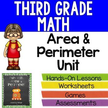 Area and perimeter can be so much fun!! Allow your students to develop a strong conceptual understanding of perimeter and area.This perimeter and area unit will make teaching perimeter and area a blast! **************************************************************************************Students will love these engaging activities and worksheets that teach the concept of area and perimeter.