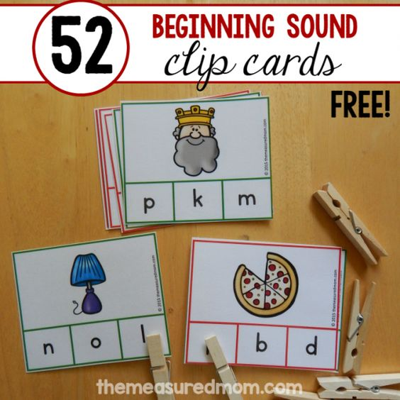 52 beginning sound clip cards square image