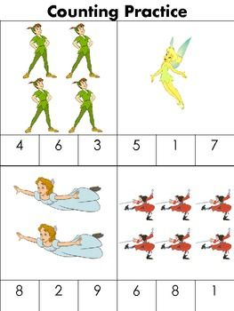 Peter Pan Counting Pack is a great and easy way for children to learn how to count. You can use any cartoon character that you may like or that the students may like. This activity is easy on the eye for younger children and also fun to look at while they learn! I don't have anything negative to say about this activity; it's not costly and not messy at all.
