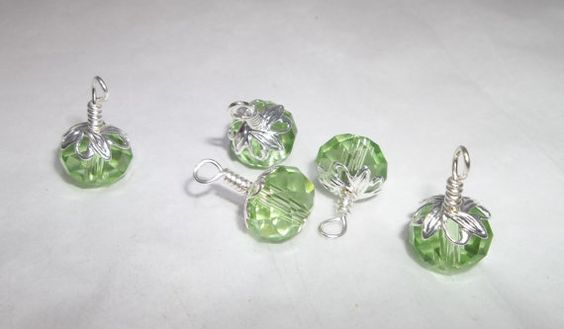 Peridot 10mm Czech Crystal Silver Plated Handmade Charms by MarkalinoSupplies, $2.25